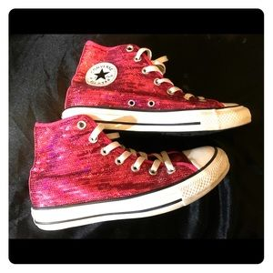 Converse All Star Chuck Taylor pink sequins size 8